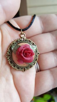 A Rose By Any Other Name Polymer Clay Pendant by Zen-In-Motion