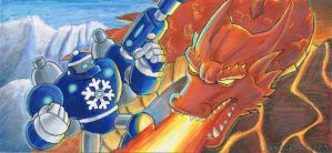 Ice Bot Vs Fire Lord by ninjatron