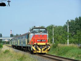 M47 1237 with a passenger train in Gyorszabadhegy by morpheus880223