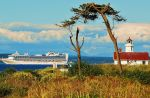 cruise ship by the lighthouse by ChuckRondeau