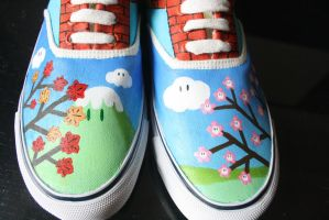 Custom painted Mario-themed shoes-front by dannyPs-customs