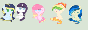the adoptables i got so far for my self by CloudyPonyArtists