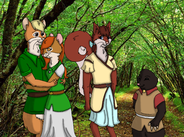 Fergus, Holly, Aileen, Tibby : Forest Time by HeatherTrelawney