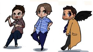 Dean, Sam and Cas by Amy-Zilla