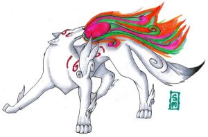 Amaterasu Okami Copic by strawberryfruitpoop