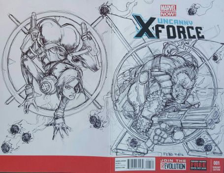 Cable Domino asm 300/spiderwoman sketch cover by bainillustration