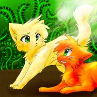 Sandstorm and Firestar by Spottedfire-cat
