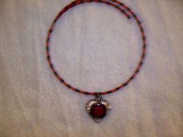Red and Black Heart Choker by SvenIsMyHomeboy