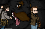 Commission - SPN - Sam, Dean and Rumsfeld by caycowa