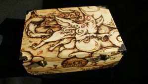 Okami themed wooden box (Pyrography) by Hipnosha