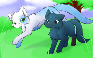 Commission - Running through the grassy field by FlareAKACuteFlareon