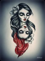 twins  tattoo flash by oldSkullLovebyMW