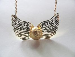 Elegant Golden Snitch Necklace by thistlesis