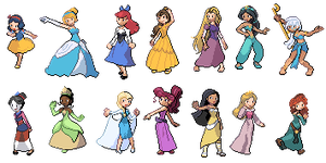 Disney Princesses in Pokemon (Diamond Pearl style) by Bored-Man28
