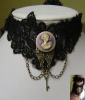 black victorian necklace or bracelet with lady cam by kaitani81