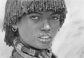 Pencil Portrait of a Married Hamer Woman by LateStarter63