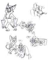 Ratchet and Clank doodles by Wolf-Shadow77