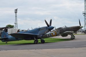 Spitfire and Hurricane at RAF Conningsby by Breezypants
