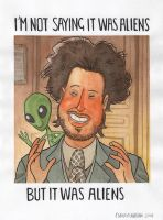 Giorgio Tsoukalos - watercolour illustration by ClaudioNaccari