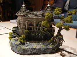 little castle with pond front by littlefantasydragon