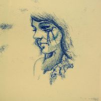 monoprint with pencil by bronart