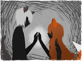 The Lonely Fox and the Lost Wolf by SaikaTora