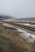 Railroad Tracks by the Ocean 1 by prints-of-stock