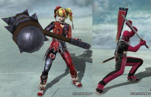 Soulcalibur Deadpool and Harley Quinn by Migael-Morningstar