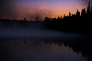 Lake at midnight by CarpathianWolf