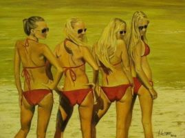 Cosmopolitan Girls - Original Oil Painting by lluciart35