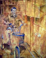 Man on Invisible Bike by cyreneq