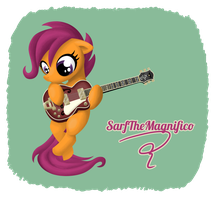 Commission: Scootaloo with Guitar by Deftone-Stylus