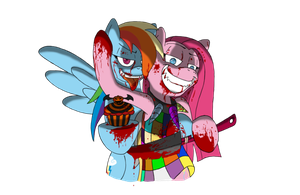 Pinkamena and Rainbow factory = BLOOD!!!!!!!!!!!! by ScourgeTiny123