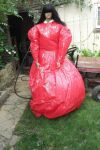inflating the large crinoline skirt with air by puncturegown