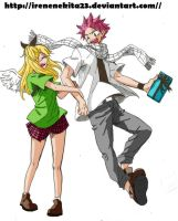 Natsu Dragneel and Lucy Heartfilia by Irenechii