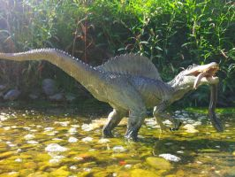 Papo Spinosaurus with slow worm in Entella by Dark-Hyena