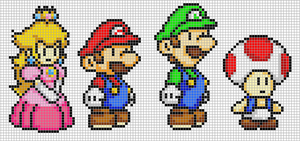 Mario, Luigi, Peach and Toad by Hama-Girl