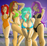 Sisters at the beach FINISHED by AmzyTheChangeling