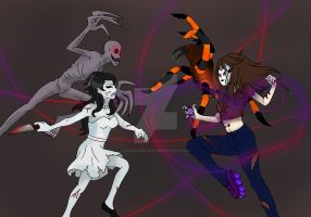 Jane the Killer and The Rake vs Nemesis and Geneva by darkangel6021