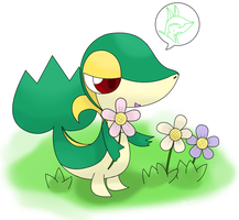 snivy pick some flower by hoyeechun