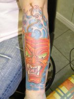Jap mask tattoo by Inkcastle
