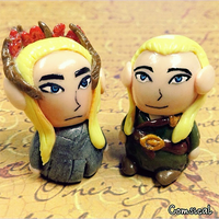 Thranduil and Legolas clay miniatures by Comsical