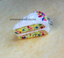 funfetti cake charm -polymer clay by ScrumptiousDoodle