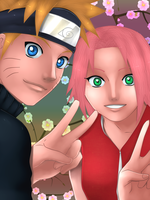 NaruSaku: Yellow and Pink by cheeryY