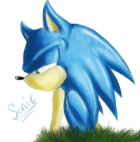 Sonic Thinks by GreenBlood12354