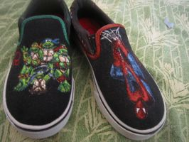 Spiderman-TMNT shoes by inkspill94