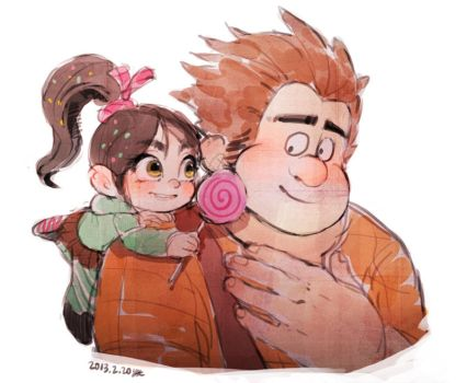 Vanellope and Ralph by Hanybe