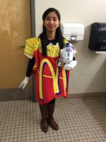 Me in French Fries costume with my R2D2 toy 1 by Magic-Kristina-KW
