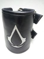 Silver on Black Assassin's Creed Wrist Cuff by deadlanceSteamworks