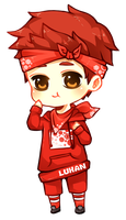Luhan in red by misunderstoodpotato